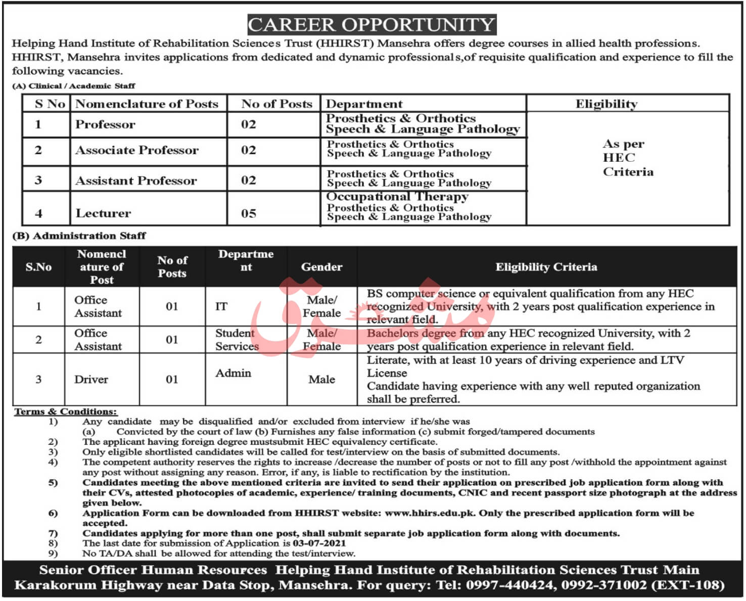 HHIRS Helping Hand Institute of Rehabilitation Sciences Jobs 2021